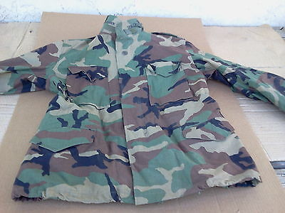 COLD WEATHER  FIELD COAT  W/ LINER W / HOOD   LARGE REGULAR BDU WOODLAND CAMO