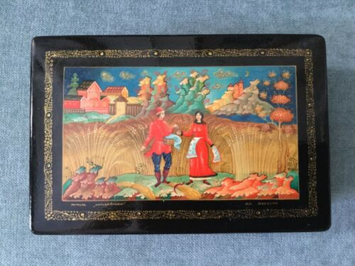 Lacquer Jewelry Trinket Box with Palekh Style Russian Fairytale Pattern Signed