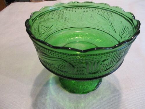 Vintage Glass E. O. Brody Co. Cleveland Green Pedestal Compote Bowl #M6000