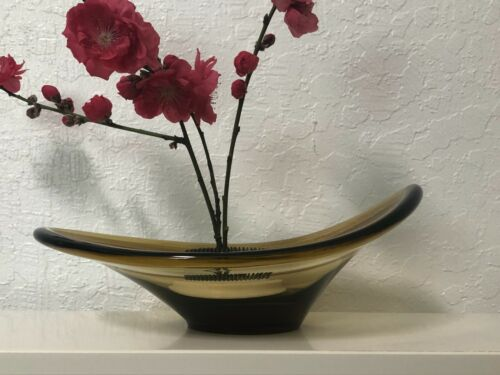 Medium Size Amber Art Glass Bowl sold with or without used ikebana spikey frog