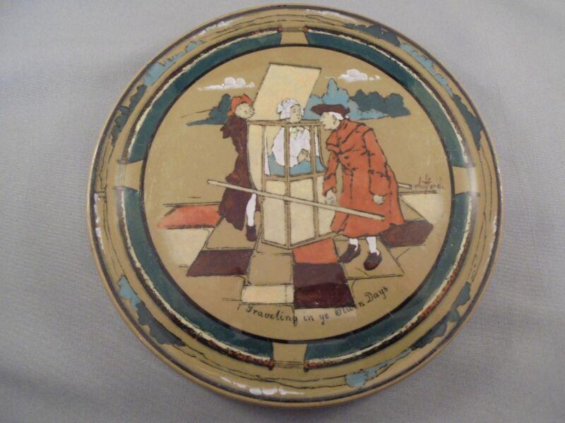 "Antique Buffalo Pottery Deldare Ware Trivet ""Traveling in Ye Olden Days"""