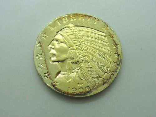 1908 US $5 Indian Head .999 Fine Silver 18k Gold Plated Copy Coin