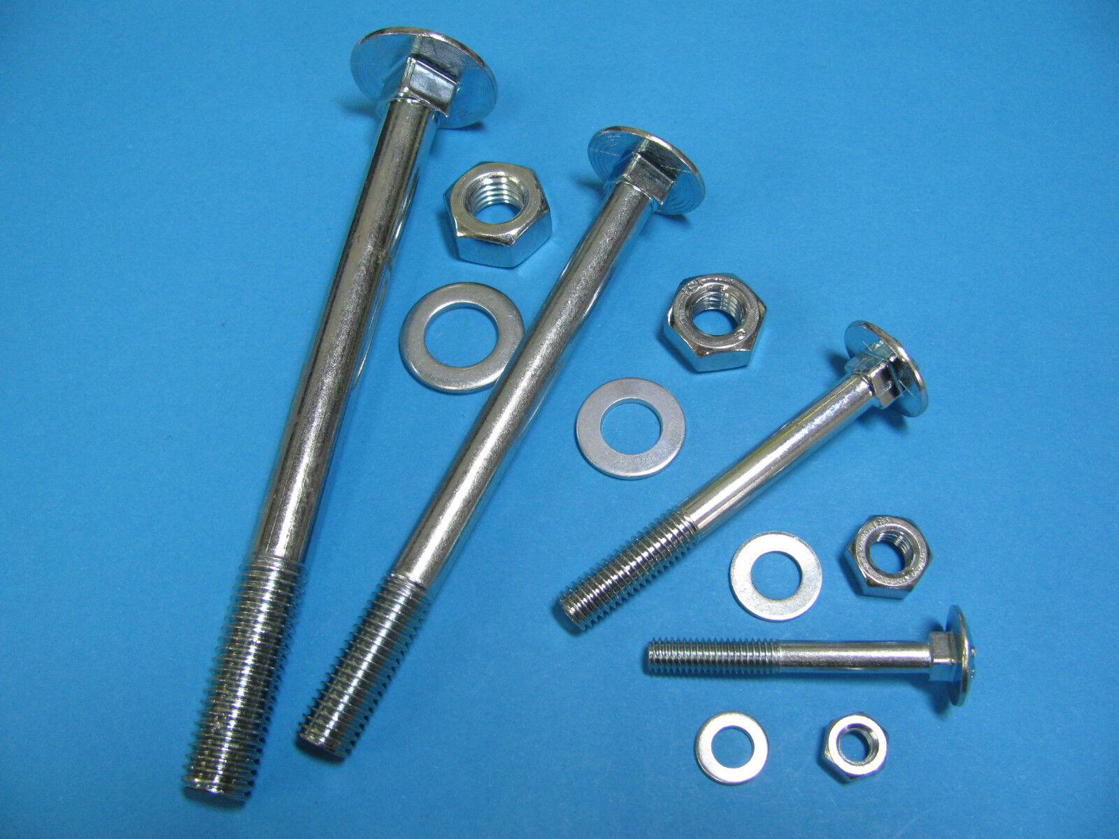 Schloßschrauben m. Muttern+Scheiben verzinkt DIN603 M5,M6,M8,M10,M12 Flachrund.