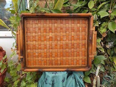 Antique Oriental Burmese Woven Bamboo Tea Tray
