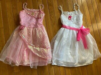 Barbie dress up play costume lot of 2, white dress and pink dress size 4-6x