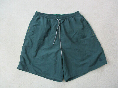 VINTAGE Nautica Swim Trunks Adult Medium Green Yellow Bathing Suit Mens 90s