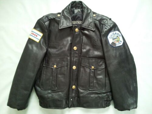 VINTAGE RARE CHICAGO COP SHOP  LEATHER  JACKET IN SIZE 40
