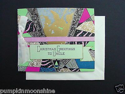 #G844- Vintage Unused Art Deco Xmas Greeting Card Holiday Musician Silhouette
