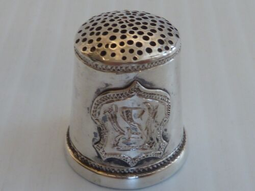 """SOLID SILVER HANDMADE THIMBLE W/ INITIALS """"RS"""" IN A SHIELD ON PLAIN BODY"""