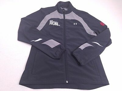 Under Armour Womens Black Gray Team Run Athletic Running Track Jacket Medium ()