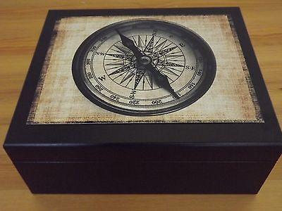 Gloss Retro Nautical Compass Spanish Cedar Black Desktop Humidor Holds 50 Cigar