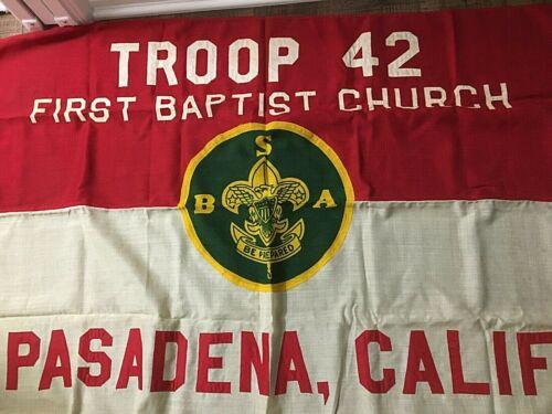 Vintage BSA Boy Scout Troop Flag Pasadena CA Troop 42, 3