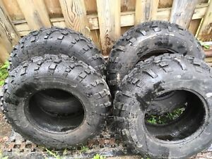 Set of stock take off tires less than 100 km on them