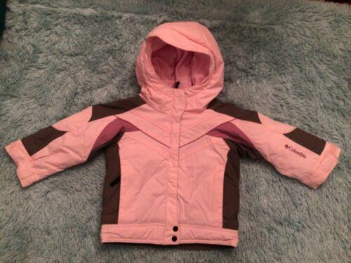 Columbia Toddler Girl Purple Gray Pink Geometric SKI Jacket Coat HOOD SZ 2T EUC