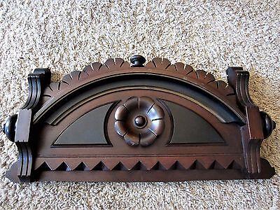 3-TONE Ebonized Eastlake Furniture Pediment Victorian Walnut Wood Cabinet Crest