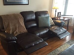 Genuine leather reclining sofa and love seat