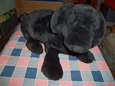 Dakin Plush Dog Black Lou Rankin  16 Inch Long Tail Tip to Nose Nice Clean Condi