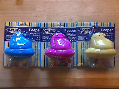 Lot of 3 Peeps Chick Peepers jelly bean dispensers, yellow blue pink, 1 oz ea - Yellow Jelly Beans