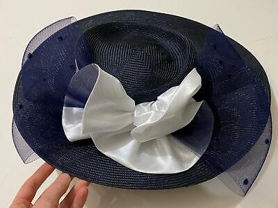 Navy Derby Hat (Vtg Navy Blue Church Derby Wedding Formal Fashion Couture Hat)