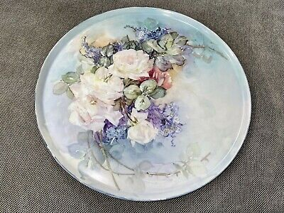 Antique Charles Field Haviland Porcelain Large Round Dresser Tray w Flowers Dec.