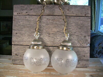 Vintage Pr Mid Century Hanging Ceiling Light Fixtures Frosted Glass Brass Chain