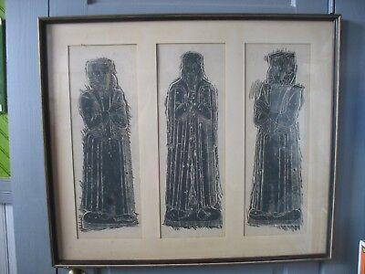 Vtg Large Woodcut wood cut Block print Man & Woman in Elizabethan Dress - Elizabethan Dress For Men