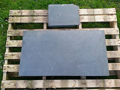 LARGE SLATE SLAB STONE GARDEN ORNAMENT TABLE TOP + SMALL SLAB