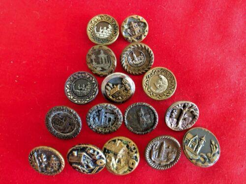 """Antique Buttons ~Collection 16 BUILDINGS & CASTLES ,metal 1/2""""-3/4"""""""