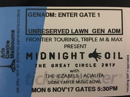 Midnight Oil - 2x unreserved GA tickets Mon 6 Nov