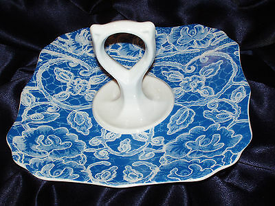 Scalloped Square Tray (ROSANNA ANTIQUE BLUE LACE SQUARE SCALLOPED SWEETS TRAY HANDLED  ORIGINAL HAT BOX)