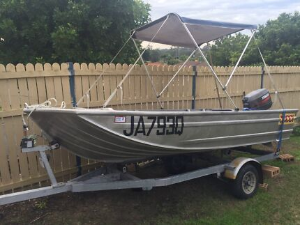 3.8m tinnie with 30hp Yamaha on trailer Windaroo Logan Area Preview