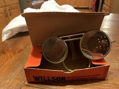 VTG 1930's Wilson Goggles Motorcycle Steampunk New And Unused In Box Heavy Duty