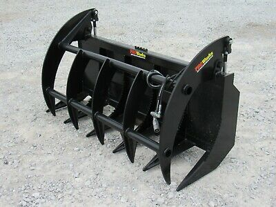 72 Brush Root Rake Clam Grapple Attachment Fits Skid Steer Tractor Quick Attach
