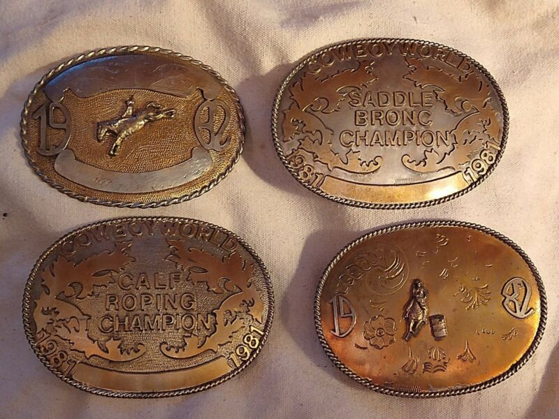 Set Of 4 Handmade Cowboy World Buckles-Vintage-Saddle Bronc-Barrel Racing-Roping