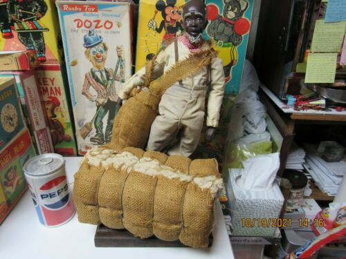 BLACK AMERICANA OLD MAN WITH COTTON SACK AND BALE VERY LARGE WOODEN ON STAND