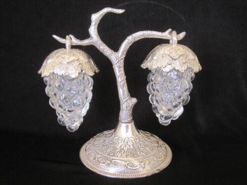 Vintage Clear Glass Hanging Grapes Salt & Pepper Shakers Silver Tone TAJ Japan