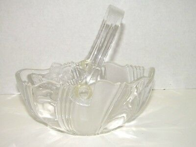 Vintage Floral Frosted Thick Glass Bowl With Plastic Handle Heavy Glass Basket