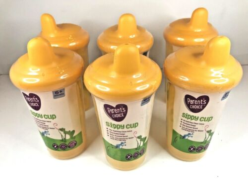 Sippy Cups Parents Choice Lot of 6 Yellow Bite Resistant Spout Brand New Sealed