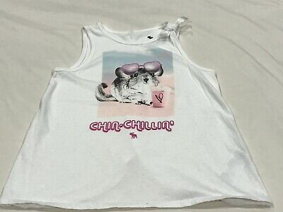 ABERCROMBIE KIDS GIRLS WHITE CHIN CHILLIN' TANK TOP SIZE 9/10