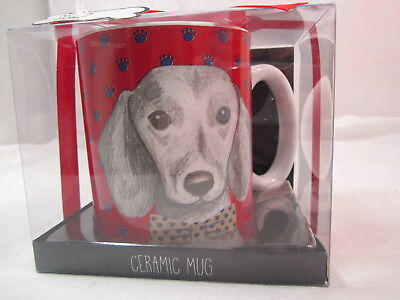 NEW Dachshund Doxie With Bow Tie Red Coffee Tea Mug Cup 2016 Tri-Coastal Design for sale  Watertown
