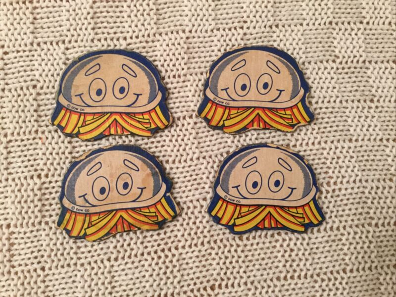 Scrubbing Bubbles Dow Co. Magnet Vintage Advertising Lot of 4 Chemical Cleaner