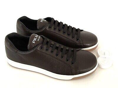 PRADA Zapatos Hombre Zapatillas Deerskin Café Marrón Eu: 45 (11) Nuevo /
