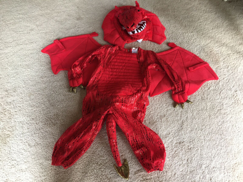 Pottery Barn Kids Red Dragon Halloween Costume  3T -Head Piece Unworn- Dress Up