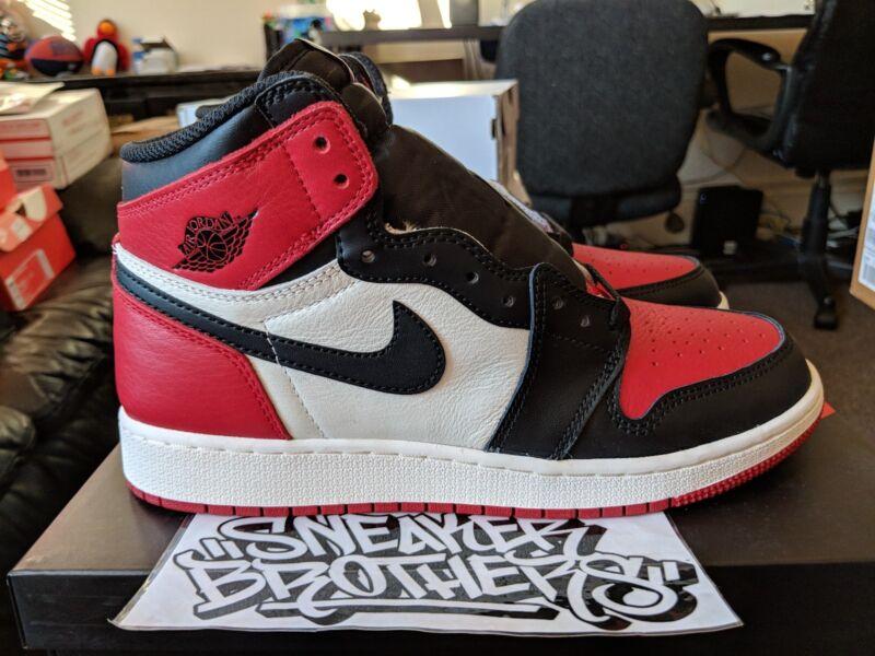 6fd4625a706 Nike Air Jordan Retro I 1 High OG 2018 Bred Toe Gym Red Black White 575441  ...
