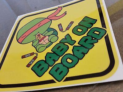 Teenage Mutant Ninja Turtles MICHELANGELO CHIBI BABY ON BOARD STICKER WARNING - Baby Ninja