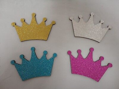 Baby Shower Ornaments (Charmed Shinny Glitter Crown Ornaments for baby shower/ birthday; 5 Pieces;)
