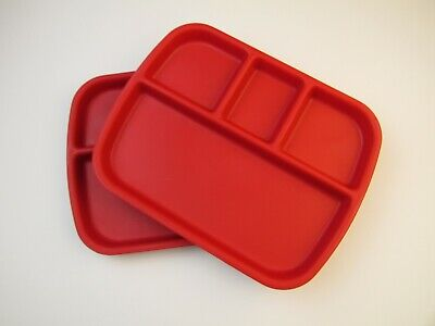 Lot of 6 Red Plastic 4 Compartment Kids School Cafeteria Lunch Tray 11.5x9 6 Compartment Cafeteria Tray