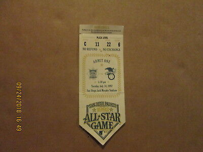 MLB San Diego Padres Vintage 1992 ALL STAR GAME Logo Baseball Ticket