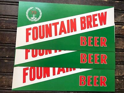 Vintage Fountain Brew Beer Cardboard Display Sign 12 5  X 6  Fountain City Wi
