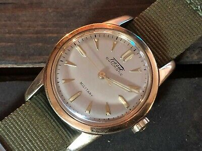 1950's Vintage TISSOT Automatic Military 17 Jewels Gold Top Stainless Steel Runs